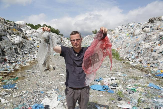 Programme Name: War on Plastic with Hugh and Anita - TX: n/a - Episode: n/a (No. Generics) - Picture Shows: finds British council recycling bags dumped at illegal sites in Malaysia Hugh Fearnley-Whittingstall - (C) Keo Films - Photographer: Tom Beard.