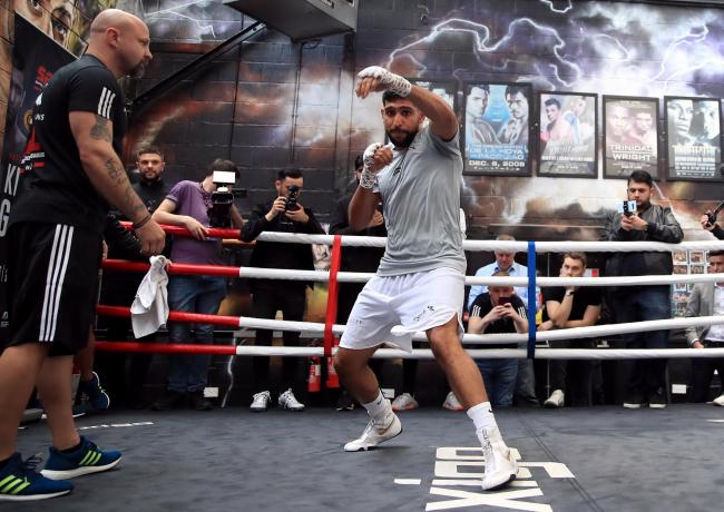Amir Khan at a media workout at his gym in Bolton