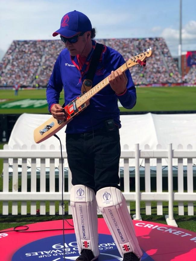 ENTERTAINING: Robin Hill plays for huge crowds on his cricket bat