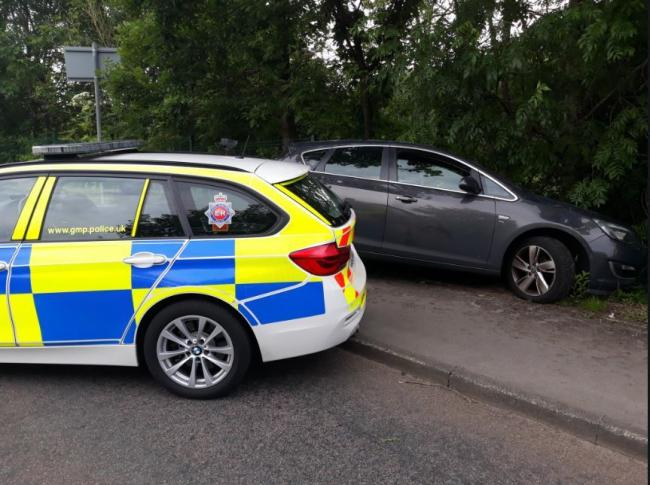 CRASHED: A Vauxhall Astra stopped following police car chase