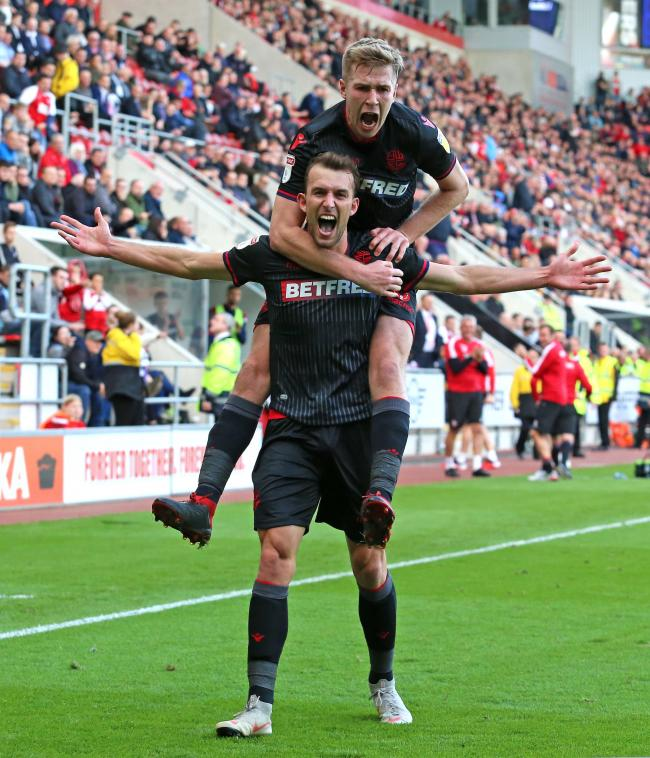 Christian Doidge celebrates his only Bolton goal against Rotherham United