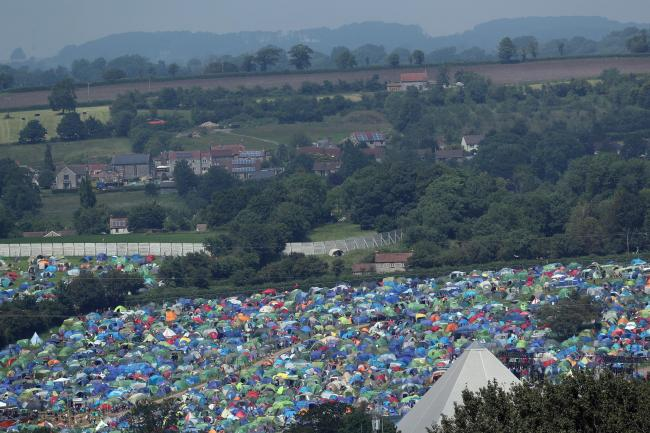 Tents on the first day of the Glastonbury Festival