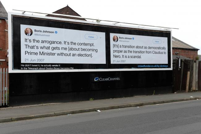 QUOTES: The billboard in Egerton Street. Photo: Dean Atkins/Led By Donkeys