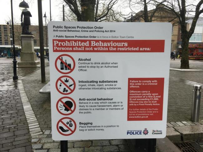 PSPO signs in Bolton Town Centre