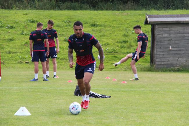 Josh Magennis in training at Wanderers on Monday