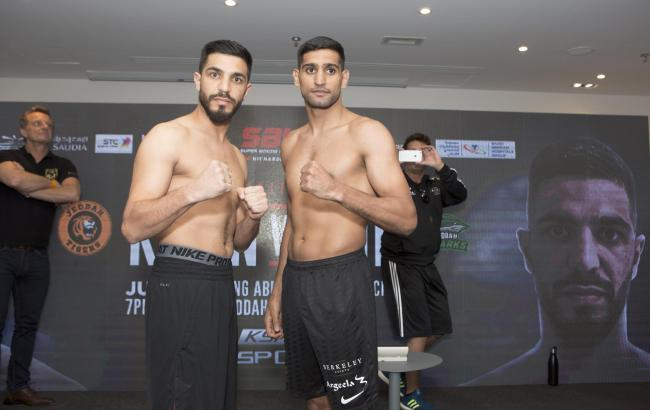 Amir Khan and Billy Dib head-to-head at the weigh in. Picture:  Super Boxing League