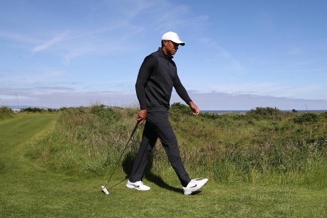 Tiger Woods pictured during his practice round at Royal Portrush on Sunday