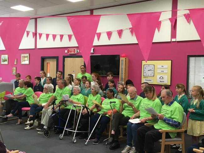 ON SONG: Brazley Dementia Choir with children from Claypool Primary School
