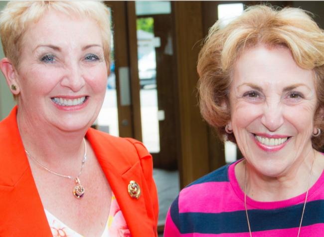 Saddleworth WI president Pam Armstrong with former MP Edwina Currie