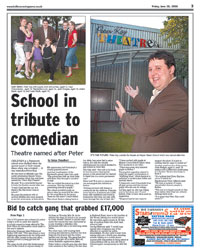 Peter Kay outside the theatre at Harper Green School which was named after him