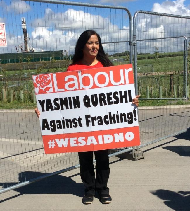 Yasmin Qureshi at the Preston New Road fracking site in 2017