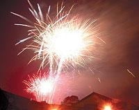 The Bolton News: SPECTACULAR: Fireworks light up the sky above The Last Drop Hotel in Bromley Cross