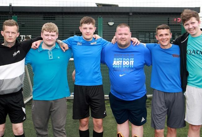 Staff from Amazon who took part in the football fundraiser for Once Upon A Smile