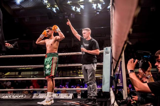 Khaleel Majid with Kieran Farrell. Picture: Eat Sleep Boxing Repeat
