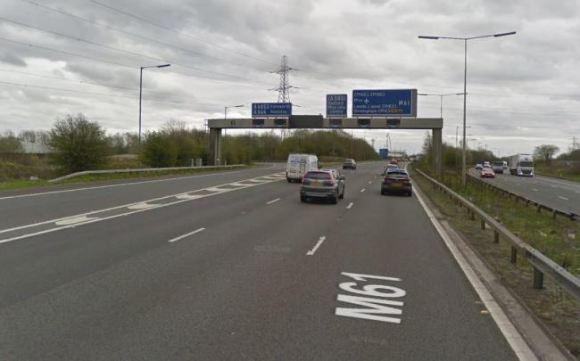 The M61 southbound was shut between Junctions 4 and 3. Picture, Google Maps