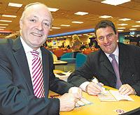 EYES DOWN: David Crausby and Cllr John Byrne marking bingo cards at Mecca in Breightmet