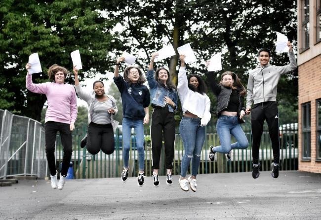 Picture by Julian Brown 22/08/19..Jumping for.....St James CE High School, Farnworth.