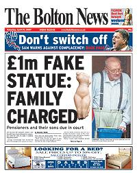 CHARGED: George Greenhalgh at home yesterday, and the Amarna Princess statue, above left