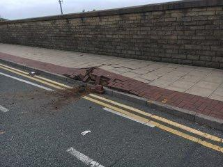 Pavement damaged as underground electrical cable causes