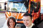 ARRIVING IN STYLE: RAC patrol woman Karen Allison who arrived for her wedding at All Saint's Church, Glazebury, in an RAC recovery truck is pictured with bridegroom Ian Allison