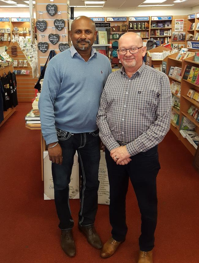FUTURE: Manager David Thurairatnam and senior sales assistant Peter Nicolle