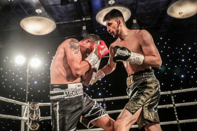 Sahir Iqbal goes on the attack against Kevin McCauley. Picture: MTK Global