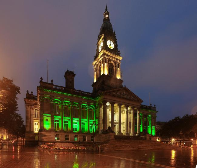 Bolton Town Hall lit up in green. Picture by Phil Taylor