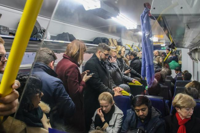 An overcrowded Northern rail service