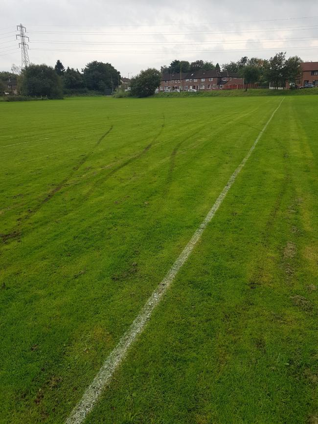 Damage at the Darwen Park pitch used by Breightmet Wanderers Football Club