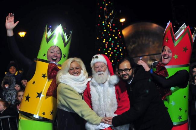 Father Christmas switches on the Farnworth Christmas lights in 2016