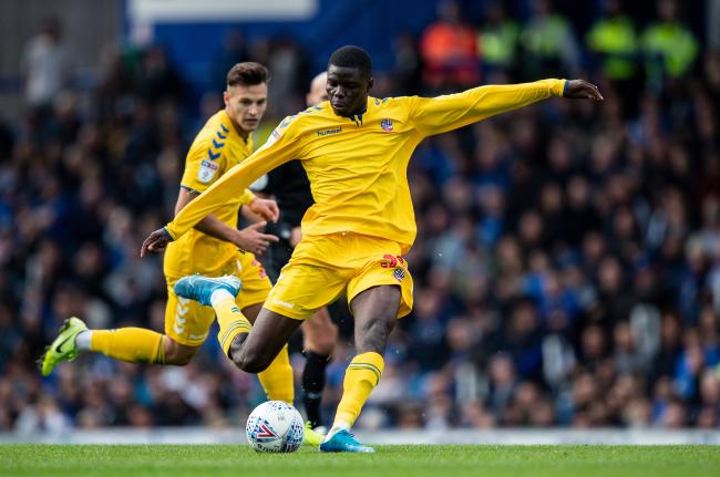 Wanderers defender Yoan Zouma in action against Portsmouth