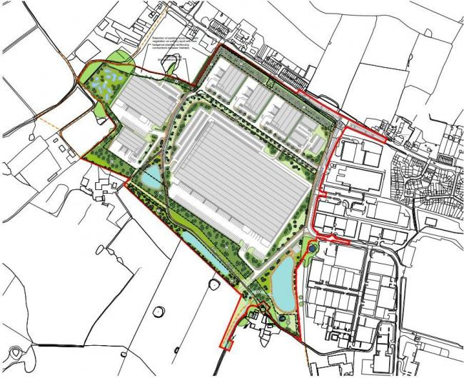 An outline illustrative landscape masterplan of the proposed industrial estate west of Wingates Industrial Estate