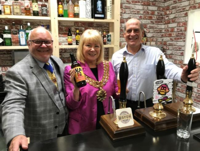 Mayor of Bolton, Cllr Hilary Fairclough, with her husband and consort Don Fairclough, and Wayoh Brewery co-director Stephen Hyland