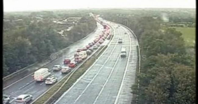 M61 following the crash. Credit: Motorway Cameras