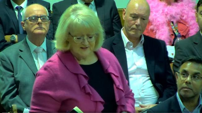ROW: Labour group chief whip Cllr Kevin McKeon (left) sat behind Labour leader Cllr Linda Thomas at the meeting