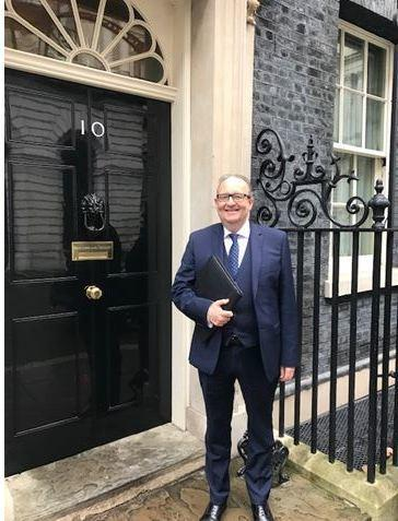 Cllr David Greenhalgh on the step of Ten Downing Street