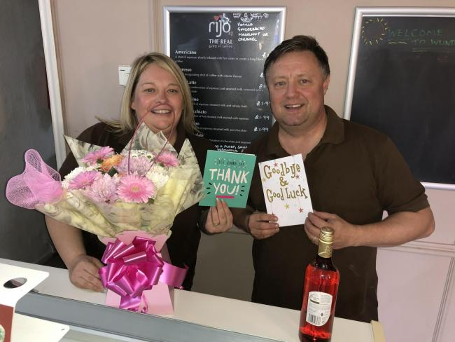 FAREWELL: Amy and Derek Wunderley in their last day at the cafe