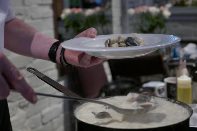 Nick Cullen serves up some delcious seafood chowder