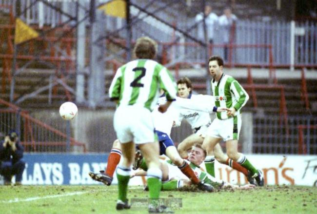 Keith Hill watches on as John McGinlay scores Wanderers' second in a 3-1 victory against Plymouth in 1993