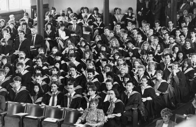 Todays picture from The Bolton News archives shows students from the Bolton Institute of Higher Education at their graduation awards ceremony in the Victoria Hall in 1991