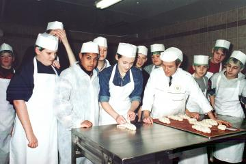 Young bakers at Greenhalgh's in 1995 - Photo