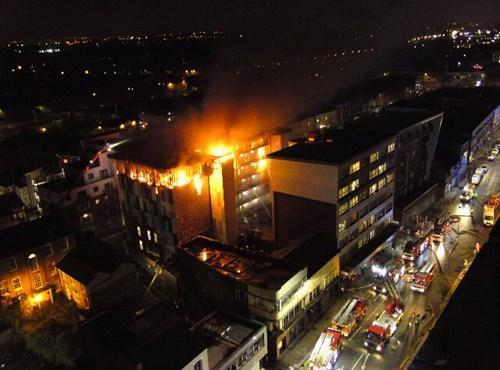 Fire crews takcle blaze at the Cube student accommodation in Bradshawgate, Bolton. Photo courtesy of GMFRS