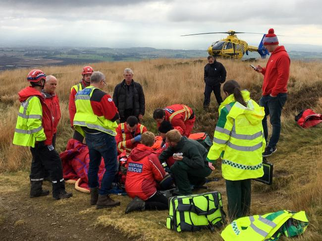 Bolton Mountain Rescue Team at work on Rivington Pike. Picture: Mark Scott - Bolton MRT