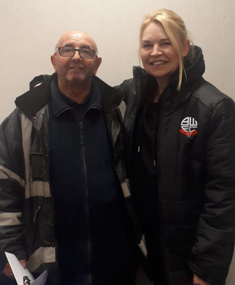 Joe McGlynn with Wanderers CEO Emma Beaugeard