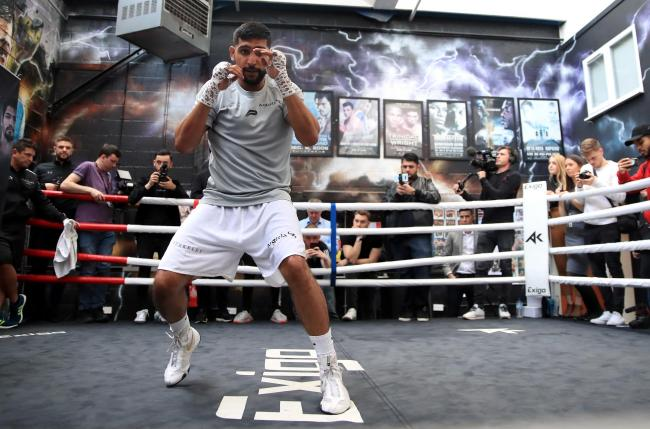 Amir Khan working out at his gym in Bolton