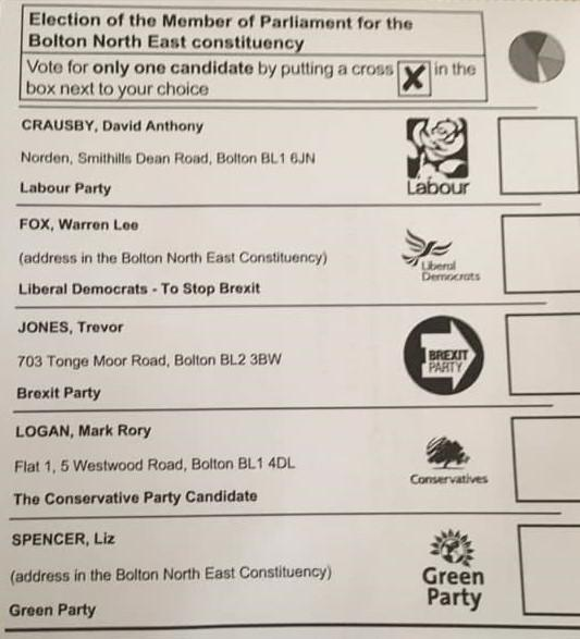 Ballot paper for Bolton North East in the 2019 general election