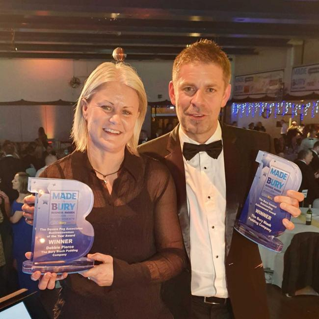 Debbie Pierce and Richard Morris, of the Bury Black Pudding Company, with their Made in Bury Business Awards