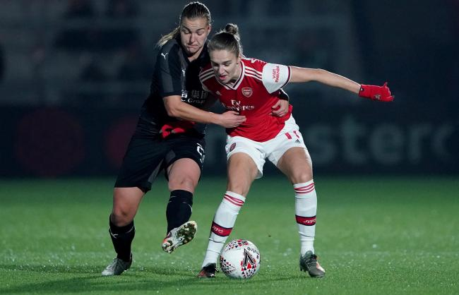 Arsenal's Vivianne Miedema (right) in action against Slavia Prague in the Women's Champions League in October