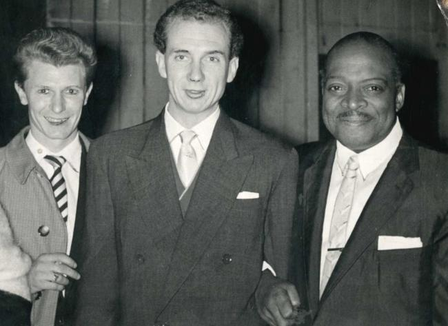 Alyn Ainsworth (centre) and hsi guitarist Dennis Newey, pictured with American bandleader Count Basie (right) during the Count's 1957 British tour