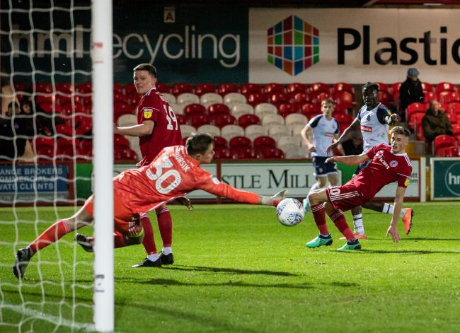 Josh Emmanuel goes close for Wanderers against Accrington